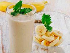 Ароматный коктейль «банан + молоко + мороженое»